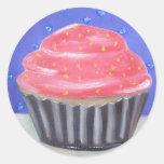 Sweet chocolate Cupcake Original oil painting Classic Round Sticker