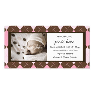Sweet Chocolate & Pink Argyle Birth Announcement Customised Photo Card