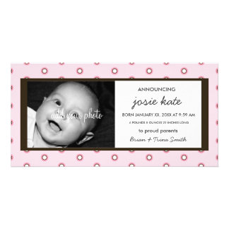 Sweet Chocolate & Pink Circles Birth Announcement Customised Photo Card