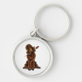 Sweet Chocolate Poodle Valentines Silver-Colored Round Key Ring