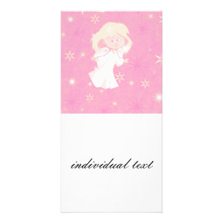 sweet christmas angel pink photo card template
