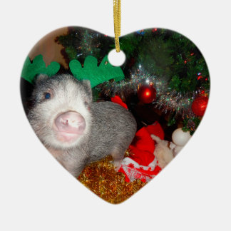 Sweet Christmas Mini Pig Heart Ornament
