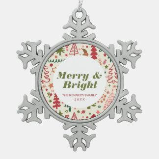 Sweet Christmas Pattern Snowflake Pewter Christmas Ornament