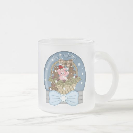 Sweet Christmas Pigs and Gingers Snowglobes Mugs