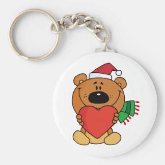 Sweet Christmas Teddy Bear Basic Round Button Key Ring
