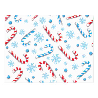 Sweet Christmassy Candy Bar Pattern Postcard
