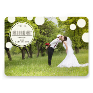 Sweet Circles Married Merry Holiday Photo Card