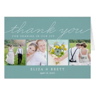 Sweet Collage Wedding Thank You Card - Aqua