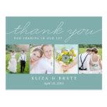 Sweet Collage Wedding Thank You Card - Aqua Postcard