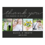 Sweet Collage Wedding Thank You Card - Charcoal