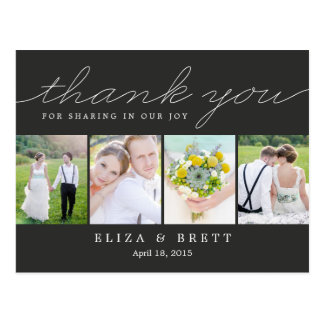 Sweet Collage Wedding Thank You Card - Charcoal Postcard