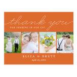 Sweet Collage Wedding Thank You Card - Orange Postcard