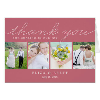 Sweet Collage Wedding Thank You Card - Pink