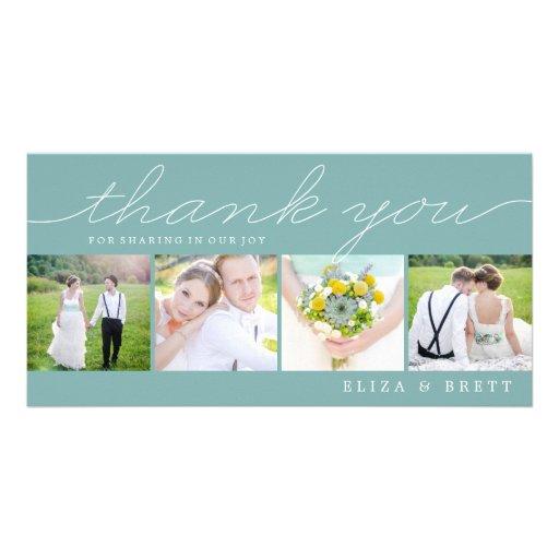 Sweet Collage Wedding Thank You Cards - Aqua Custom Photo Card