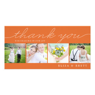 Sweet Collage Wedding Thank You Cards - Orange