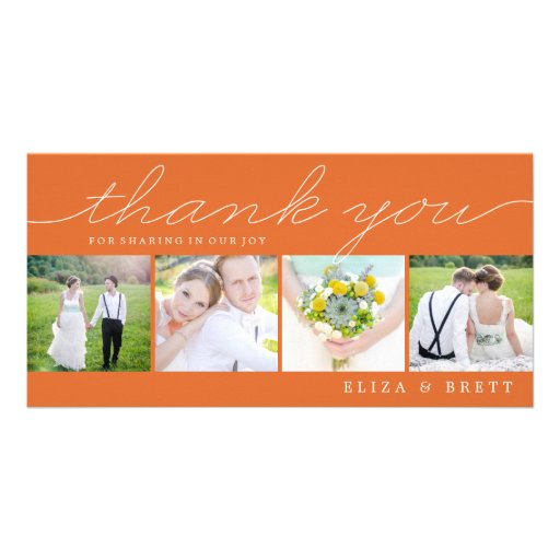 Sweet Collage Wedding Thank You Cards - Orange Photo Greeting Card