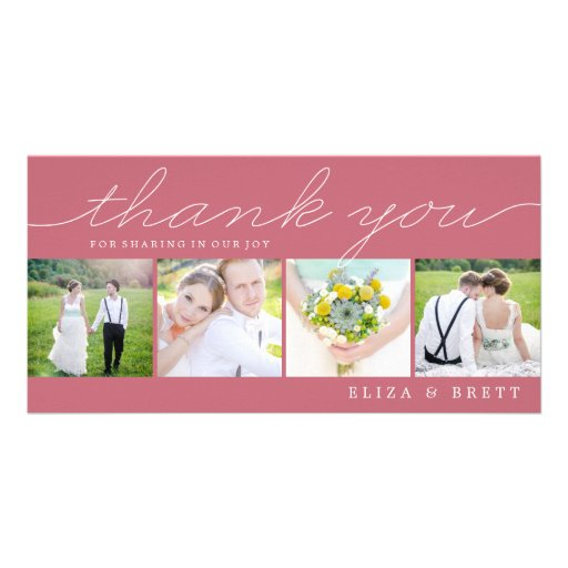 Sweet Collage Wedding Thank You Cards - Pink Custom Photo Card