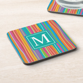 Sweet Colorful Abstract Monogram | Coaster
