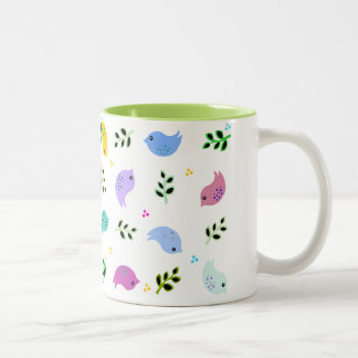 Sweet Colorful Birds Pattern Two-Tone Coffee Mug