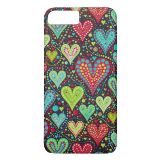 Sweet Colorful Hearts and Dots Design iPhone 8 Plus/7 Plus Case
