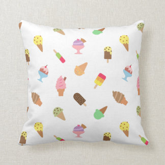 Sweet Colorful Ice Cream Pattern For Girls Room Throw Pillow