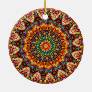 Sweet & Colorful Jellybean Mandala Kaleidoscope Christmas Ornament