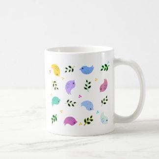 Sweet Colourful Birds Pattern Basic White Mug