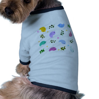 Sweet Colourful Birds Pattern Ringer Dog Shirt