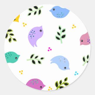 Sweet Colourful Birds Pattern Round Sticker