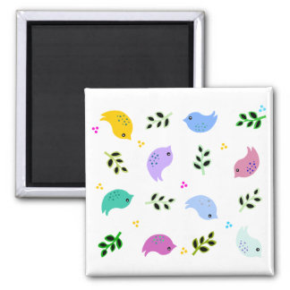 Sweet Colourful Birds Pattern Square Magnet