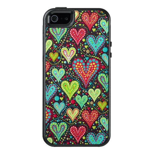 Sweet Colourful Hearts and Dots Design OtterBox iPhone 5/5s/SE Case