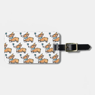 SWEET CORGI KISSES. TILED LUGGAGE TAG