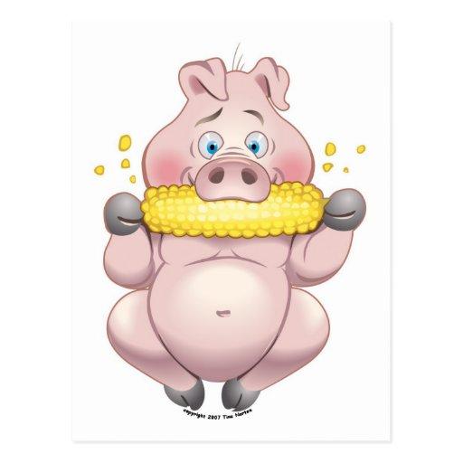 Sweet corn BBQ pink Piggy Postcard