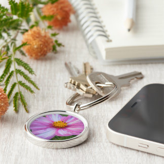 Sweet Cosmo with Pink and White Petals Silver-Colored Round Key Ring