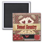 Sweet Country Apple Pie Mag Square Magnet