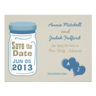 Sweet Country Mason Jar Save the Date Announcement