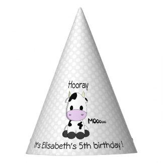 Sweet cow on polka dots cartoon girl birthday party hat
