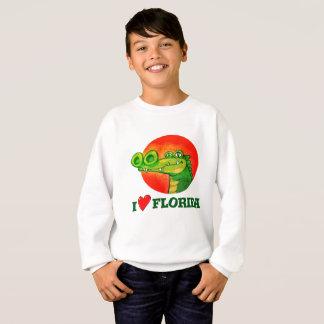 sweet crocodile funny cartoon i love florida sweatshirt