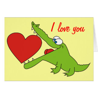 Sweet Crocodile with a Heart Love Greeting Card