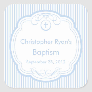 Sweet Cross In Frame Baptism Favor Seal Boy Blue Square Sticker