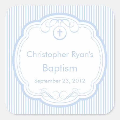 Sweet Cross In Frame Baptism Favor Seal Boy Blue Sticker