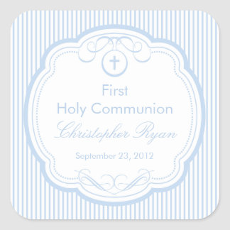 Sweet Cross In Frame First Holy Communion Boy Square Sticker