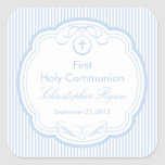 Sweet Cross In Frame First Holy Communion Boy Square Stickers
