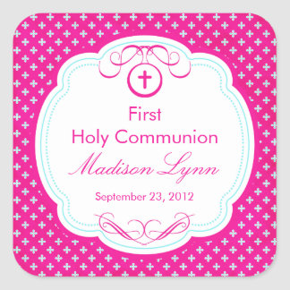 Sweet Cross In Frame First Holy Communion Pink Square Sticker