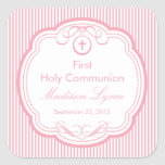 Sweet Cross In Frame First Holy Communion Pink Square Stickers
