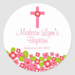 Sweet Cross Pink Floral Baptism Favour Seal Round Sticker