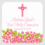 Sweet Cross Pink Floral First Holy Communion Square Sticker