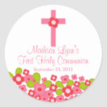 Sweet Cross Pink Floral First Holy Communion Round Stickers