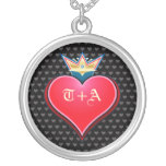 Sweet Crown Heart Customise Initials Necklace