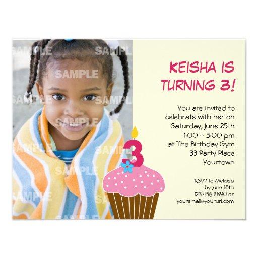 Sweet Cupcake 3rd Birthday Party Invitation